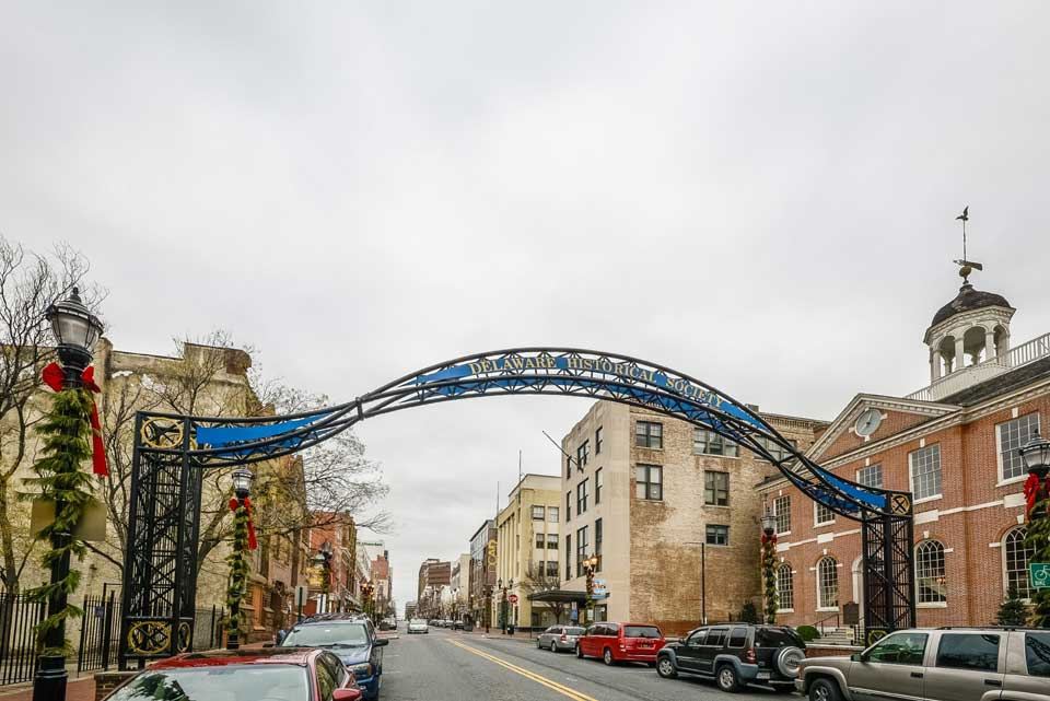 Delaware Historical Society archway in Wilmington, DE