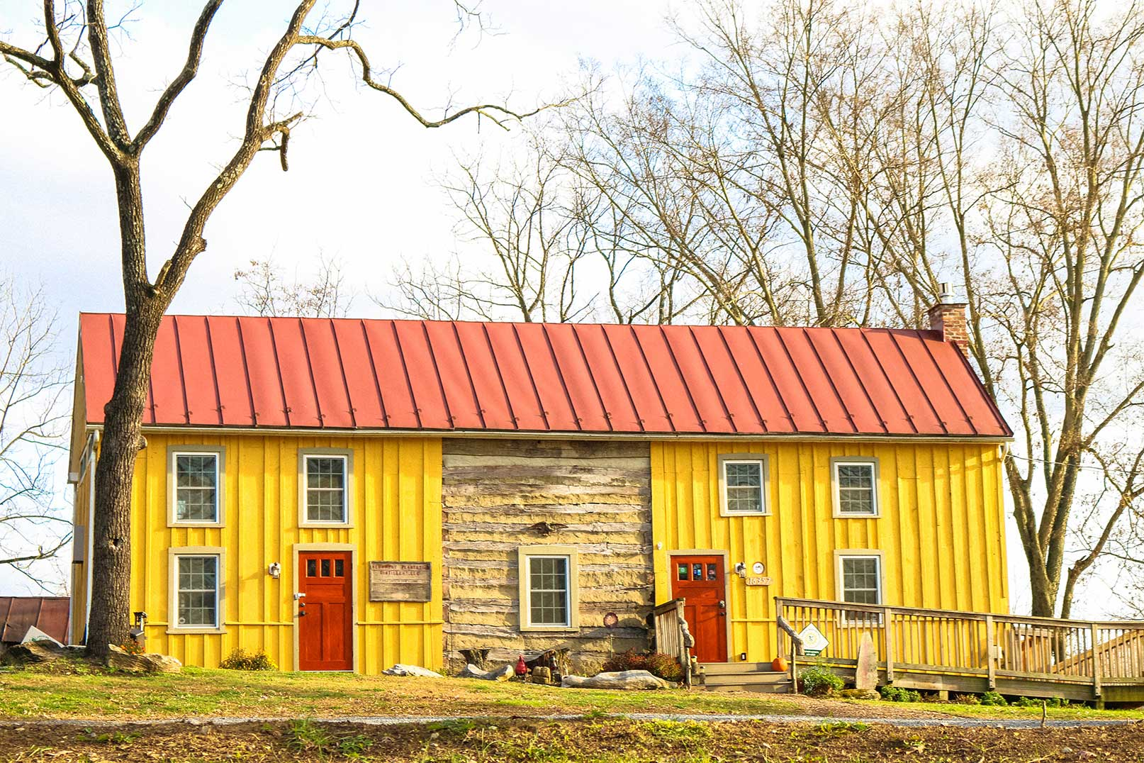 Historic log cabin building in Charles Town, WV