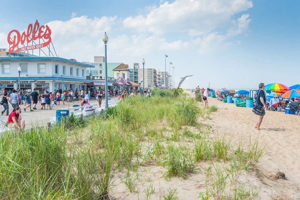 beach and boardwalk in Rehoboth beach de