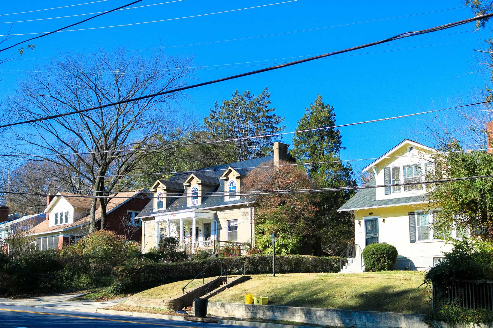 Residential street with single family homes in Takoma Park, MD