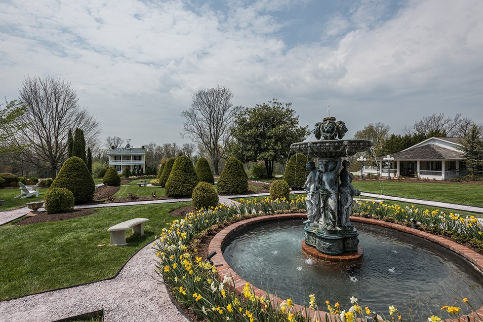 fountain and houses in taneytown md