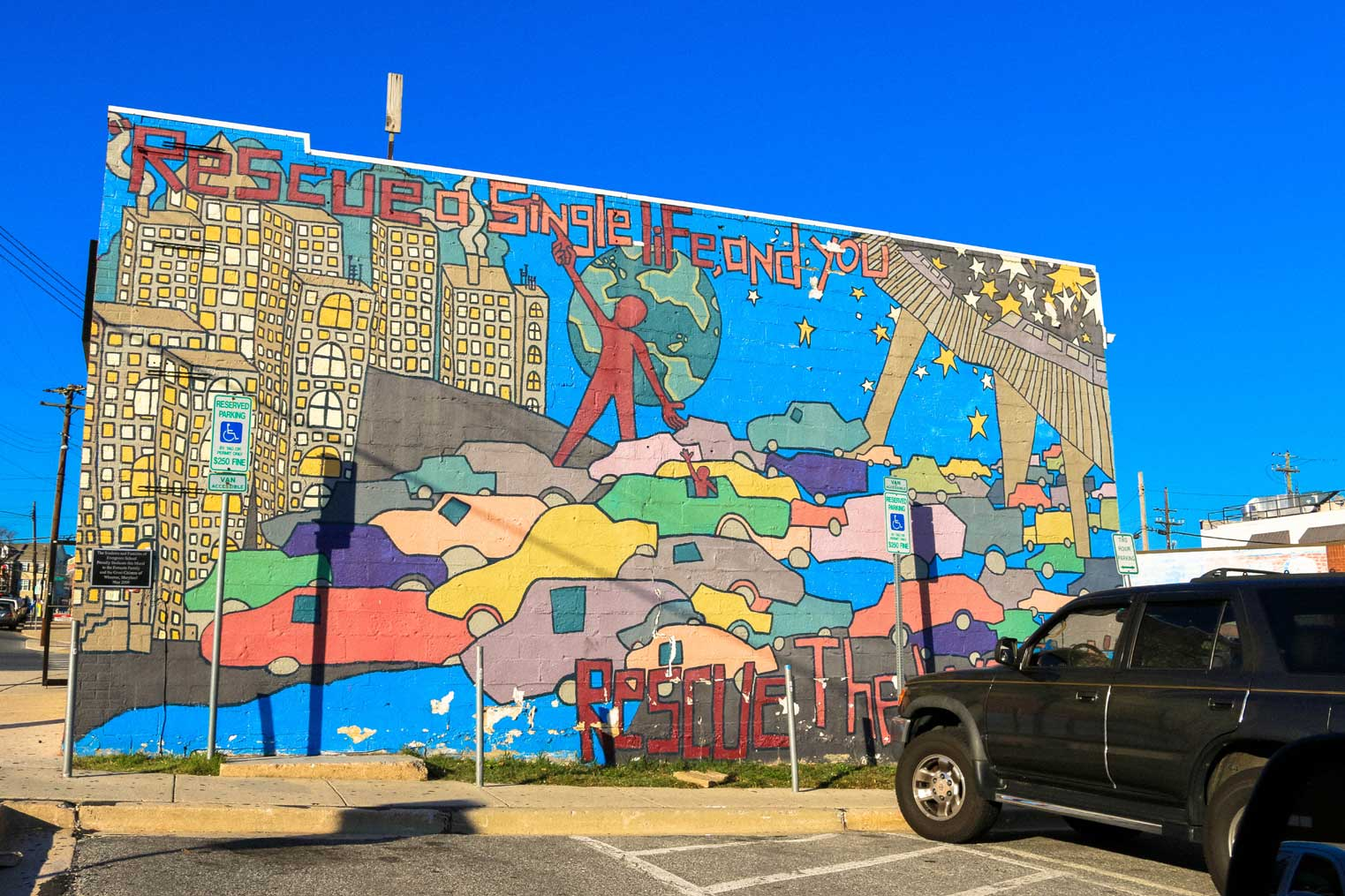 Building with mural in Wheaton, MD