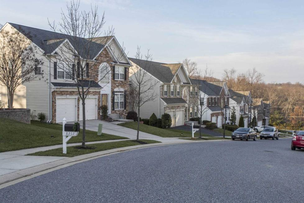 Neighborhood of single family homes in White Marsh, MD