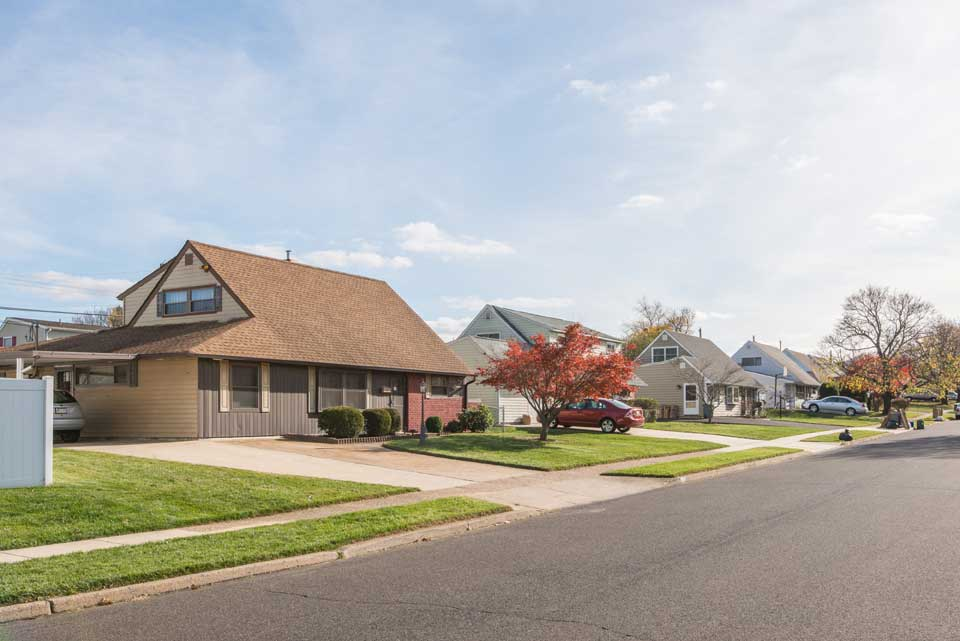 Split level houses in Levittown, PA