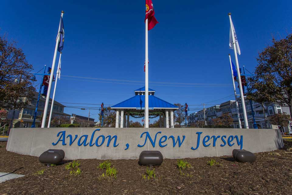 Avalon, New Jersey sign in Avalon, NJ