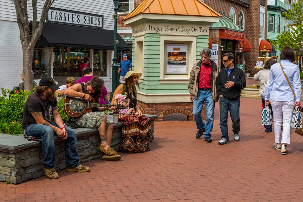 people in pedestrian mall cape may nj