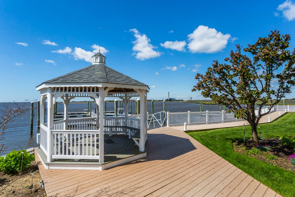 Gazebo overlooking water in somers point nj