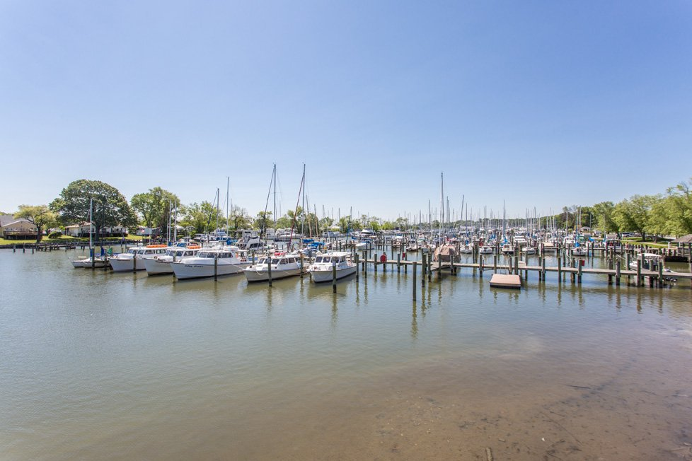 boats docked at marina in deale, md