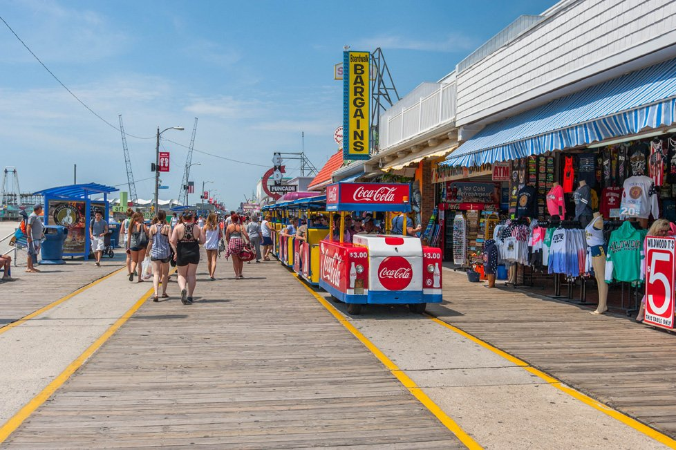 tram on boardwalk in wildwood nj