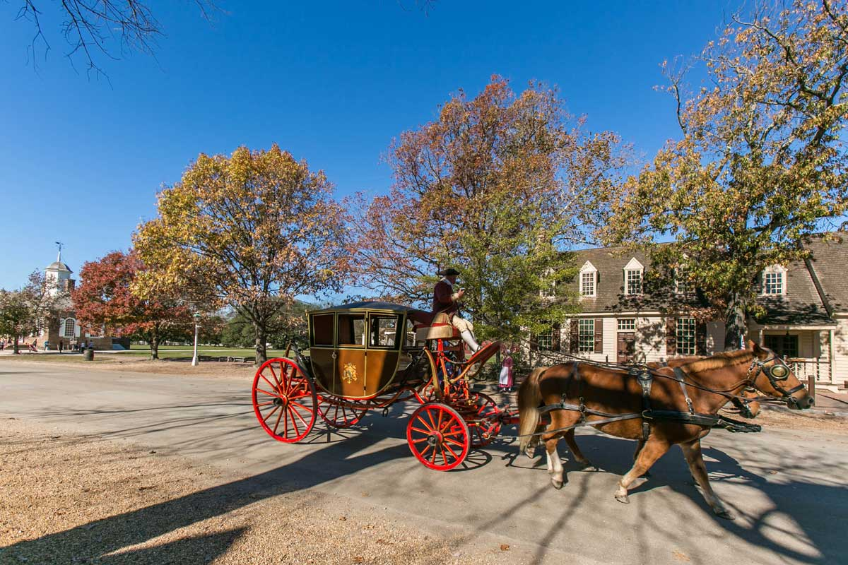 Horse drawn carriage in Williamsburg, VA
