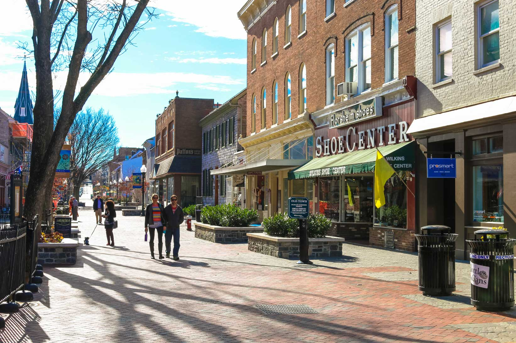 People walking on Pedestrian mall in Winchester, VA