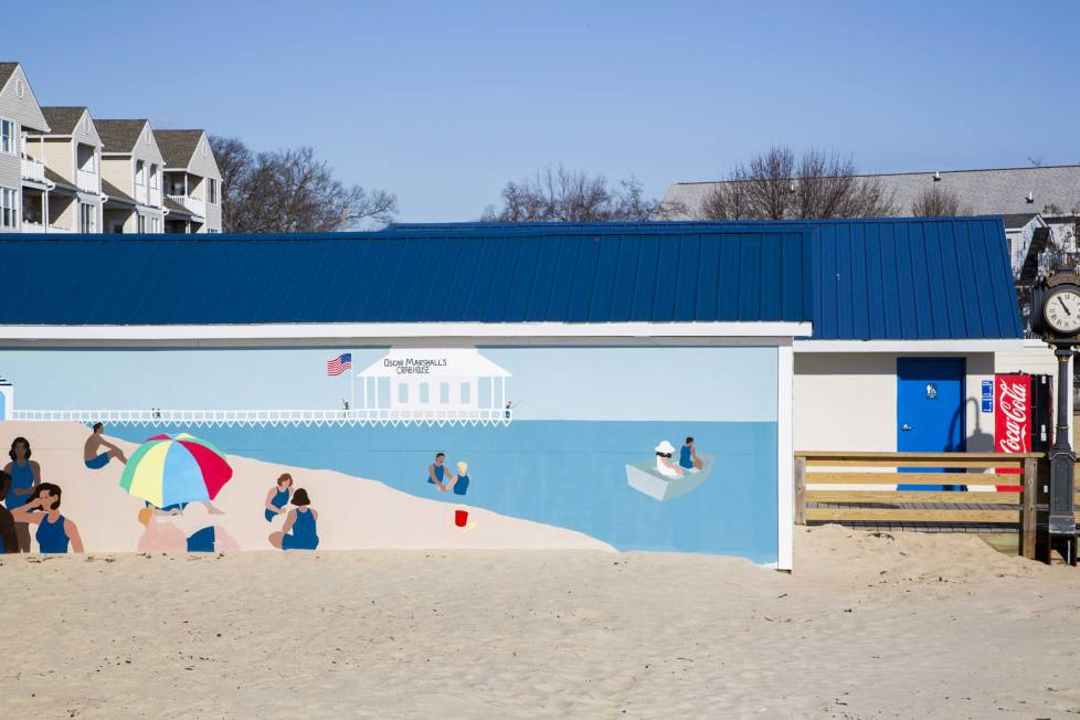 Mural on beach in Dunkirk, MD