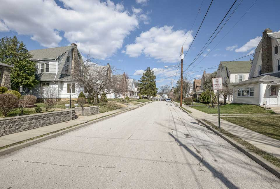 residential street in Havertown, PA