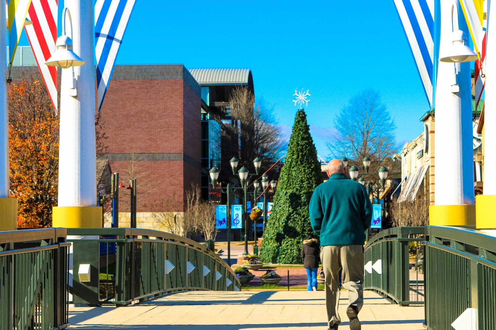 Person walking on bridge in Gaithersburg, MD