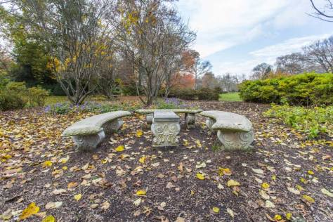 Stone benches in park in Guilford, Baltimore, MD
