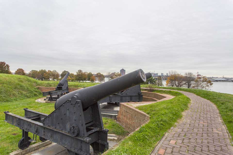 Cannons in Ft McHenry in Locust Point, Baltimore, MD