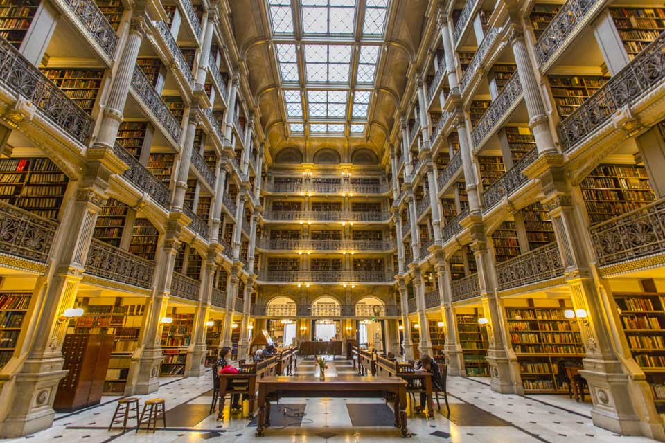 Library interior in Mount Vernon, Baltimore, MD