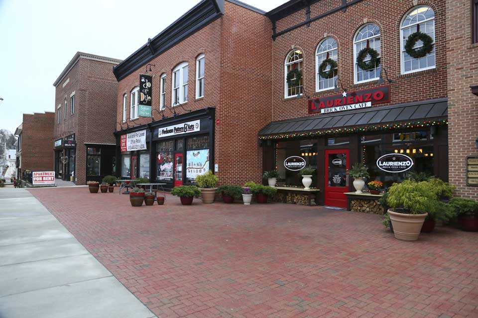 Brick-front shops in Mount Airy, MD