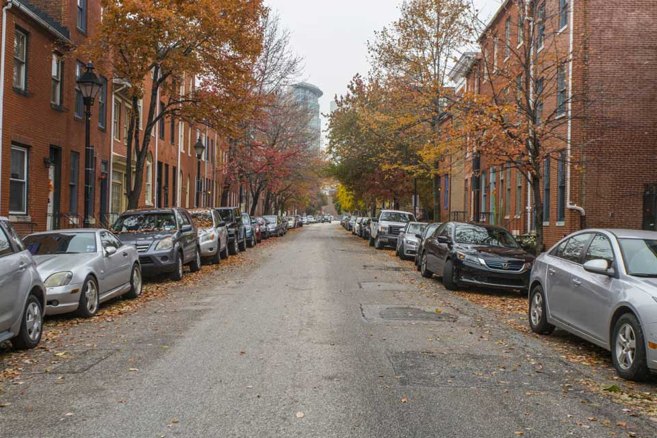 Residential street in Pigtown, Baltimore, MD