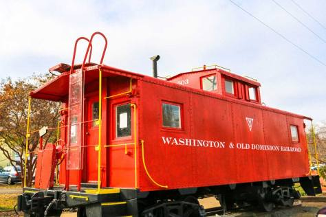 Historic W&OD red train car in Vienna, VA