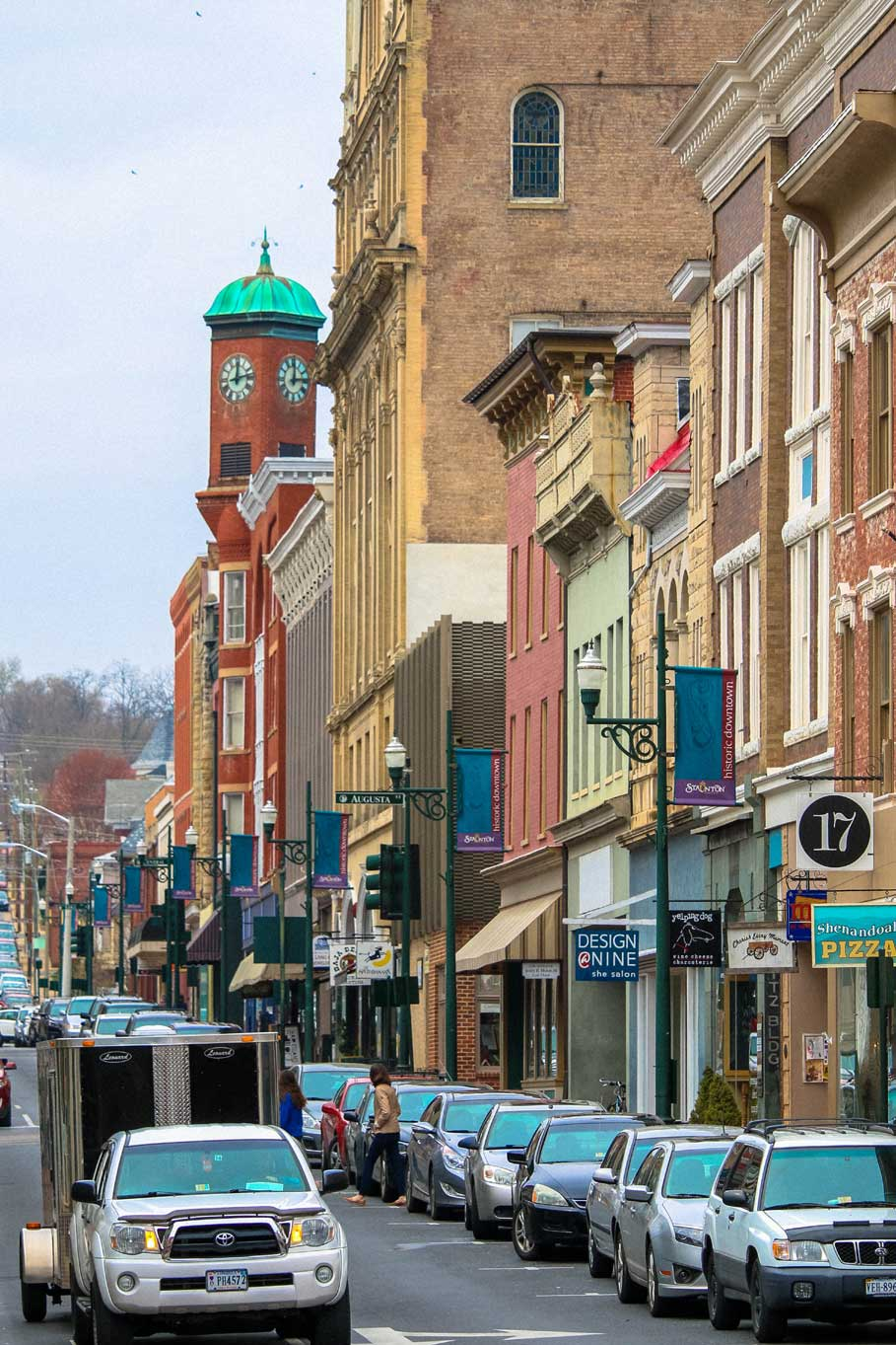 downtown businesses and clocktower in Staunton, VA