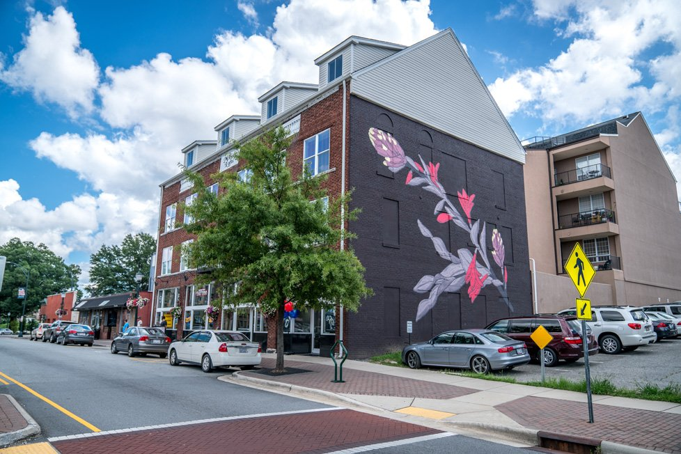 flower mural downtown greensboro nc