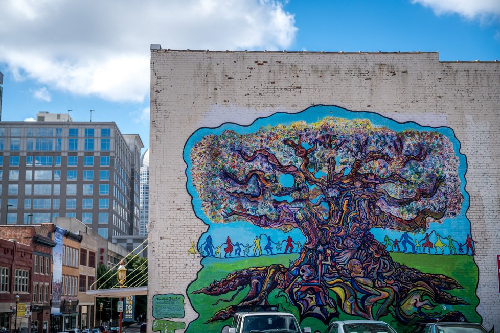 Tree mural in winston-salem nc