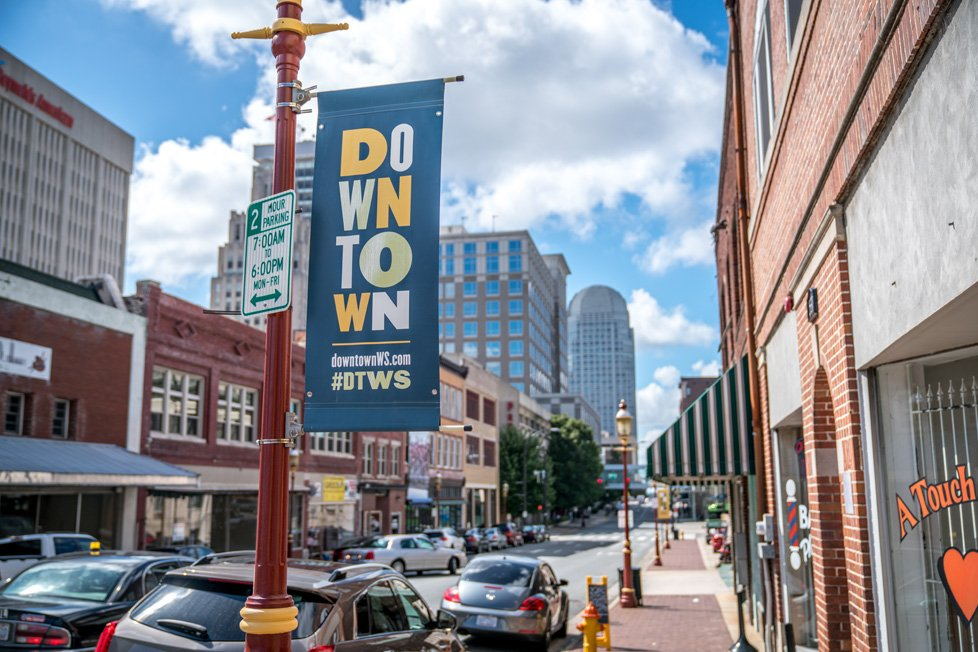 downtown sign in winston salem nc