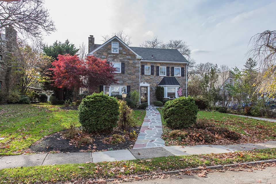Stone house with walkway in Bala Cynwyd, Philadelphia, PA