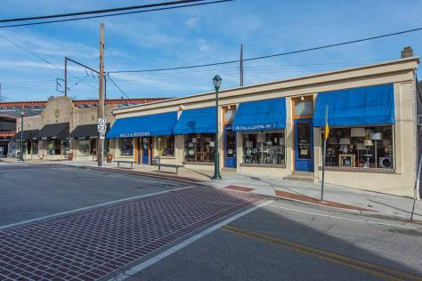 Shops with blue awnings in Bala Cynwyd, Philadelphia, PA