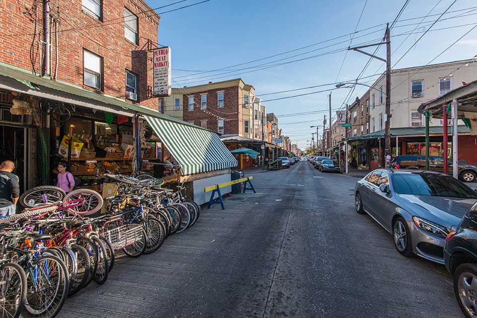 Bicycles parked on street in Bella Vista, Philadelphia, PA