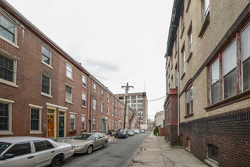 Alley with apartments in Callowhill, Philadelphia, PA