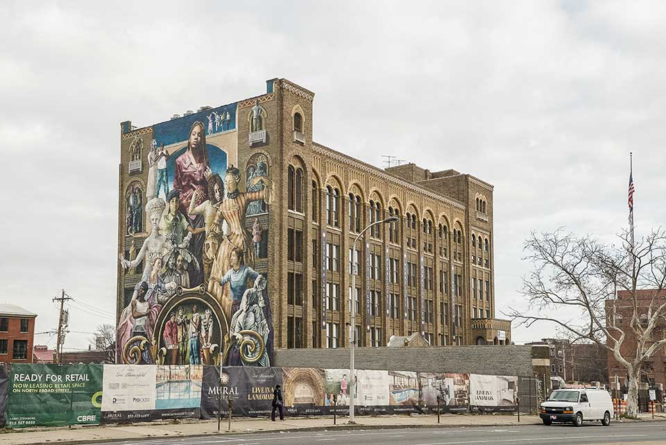 Highrise with mural in Callowhill, Philadelphia, PA