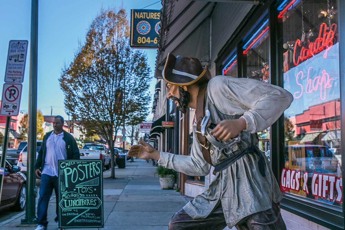 Pirate statue in Carytown, Richmond, VA