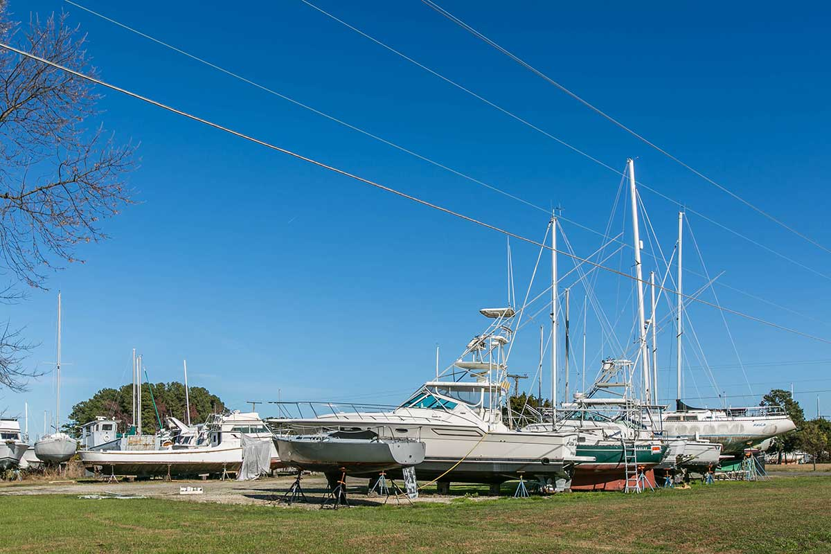 Sailboat storage in Deltaville, VA