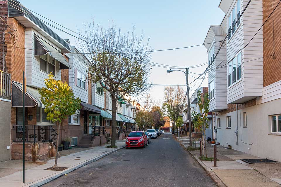 Residenntial street with row houses in East Passyunk, Philadelphia, PA