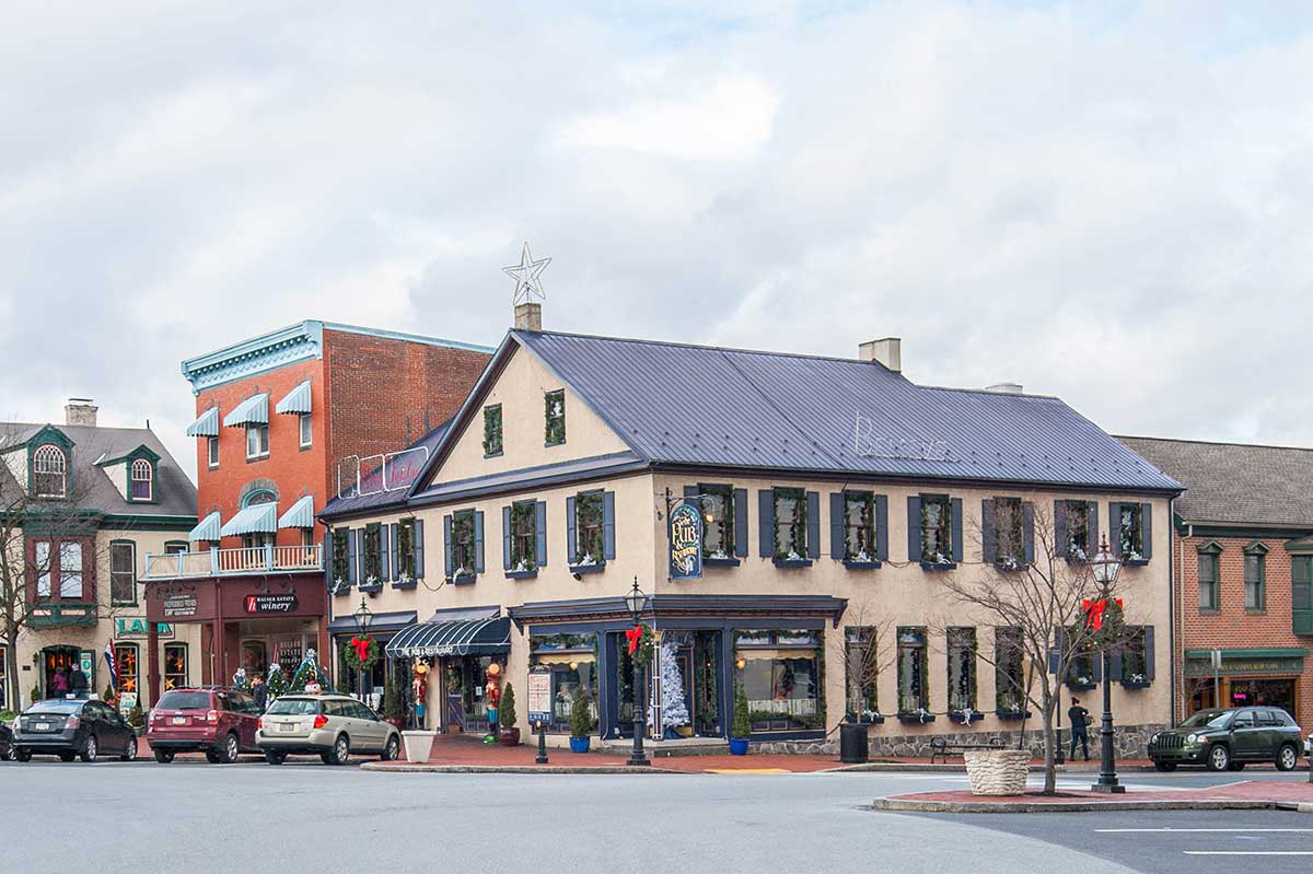 Historic downtown in Gettysburg, PA