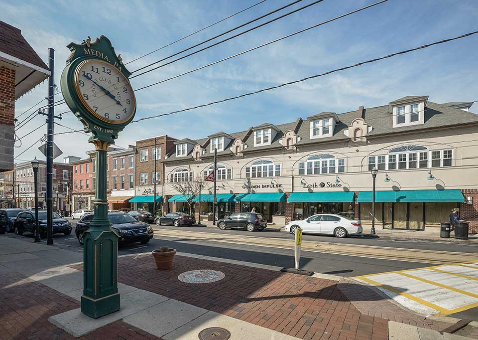 Clocks and shops in Media, PA