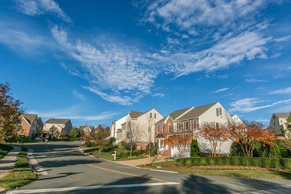 Single family home neighborhood in Midlothian, VA