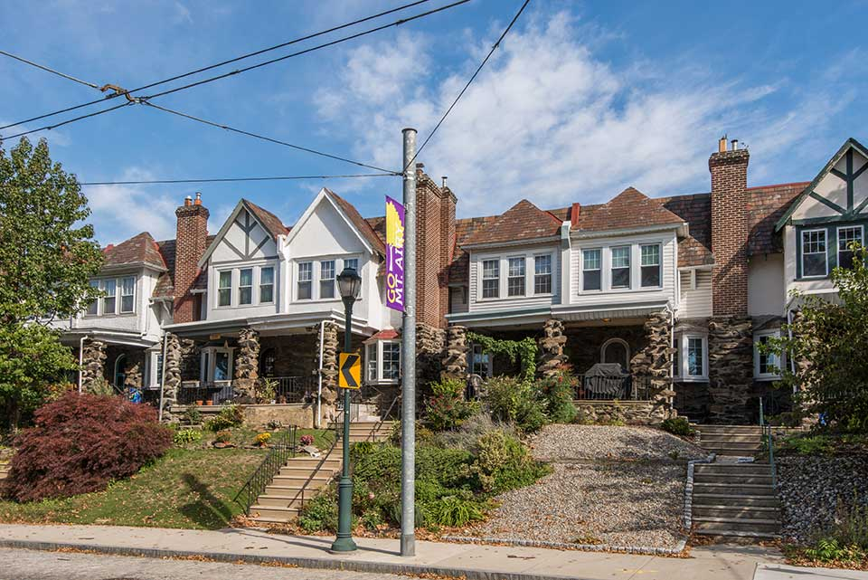 Row houses in Mt. Airy, Philadelphia, PA