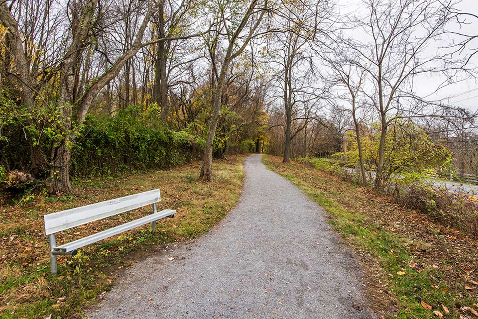 trail with park bench in Newtown Square, PA