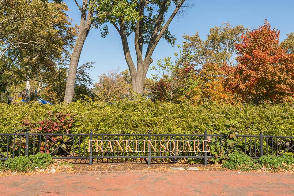 Franklin Square sign in Philadelphia, PA