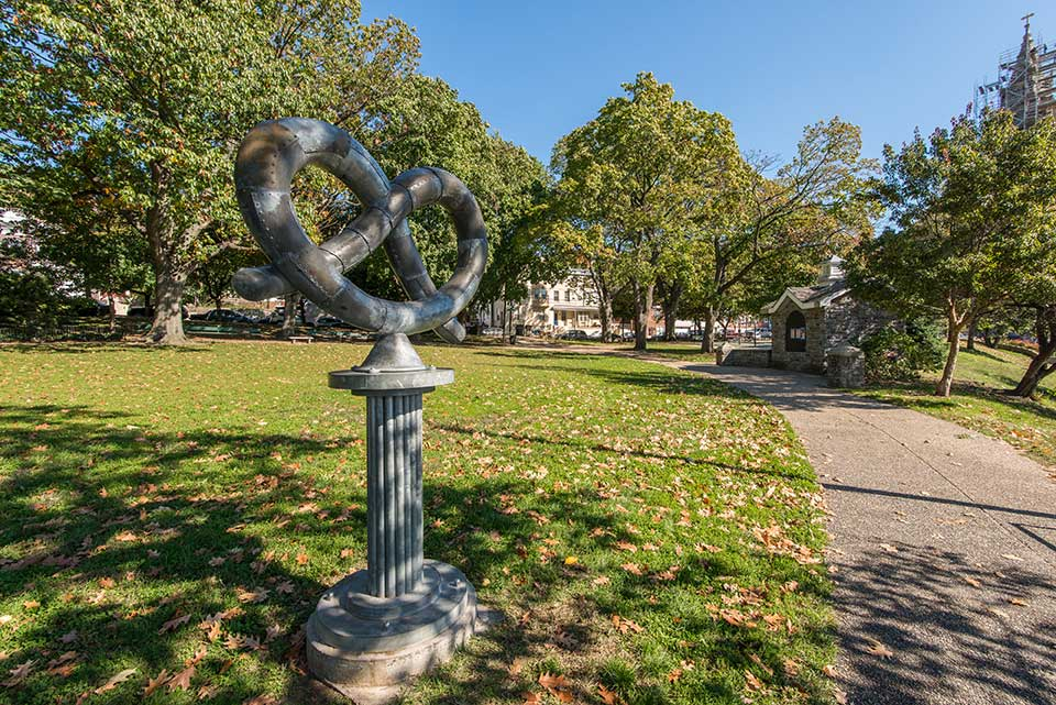 Pretzel statue in Roxborough, Philadelphia, PA