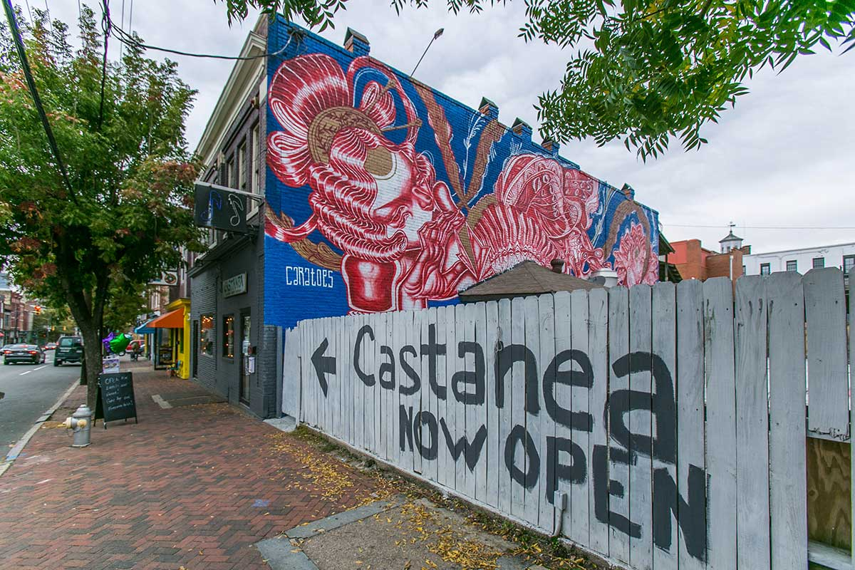 Castanea Now Open sign in Shockoe Bottom, Richmond, VA