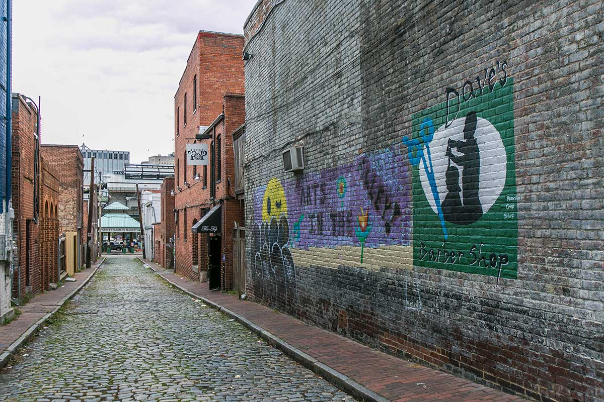 Alleyways with murals in Shockoe Bottom, Richmond, VA