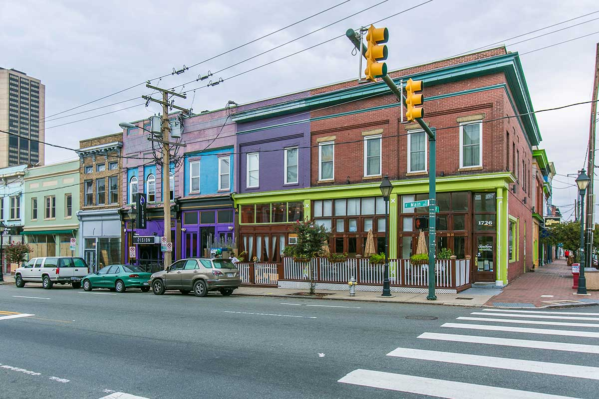 Brightly colored buildings in Shockoe Bottom, Richmond, VA