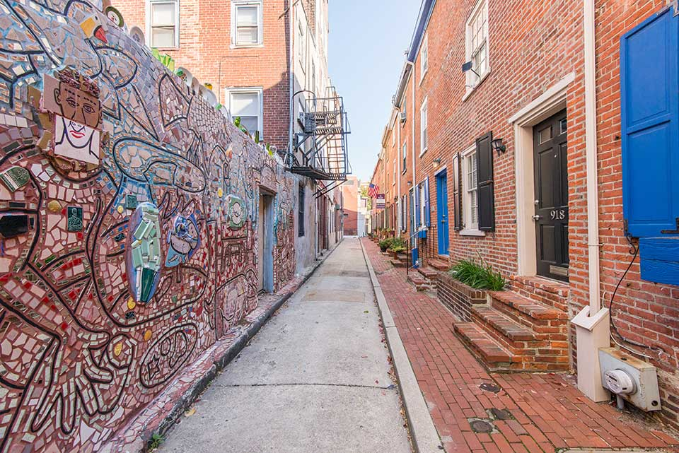 Tiled mural in an alley in Washington Square West, Philadelphia, PA
