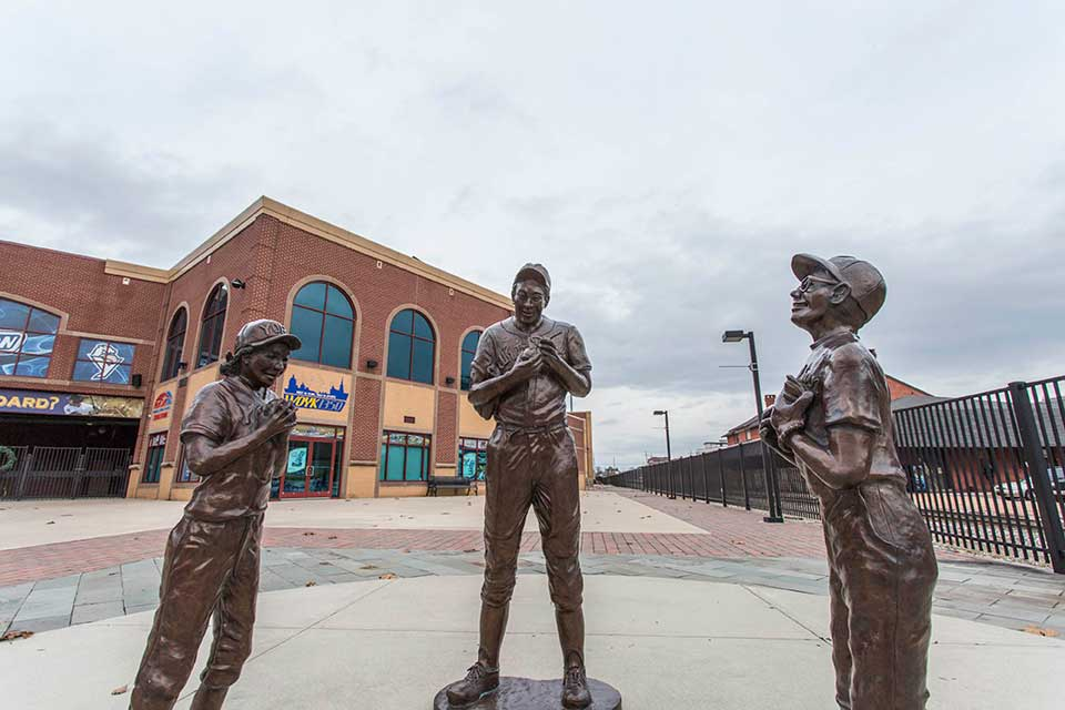 Baseball statues in front of stadium in York, PA