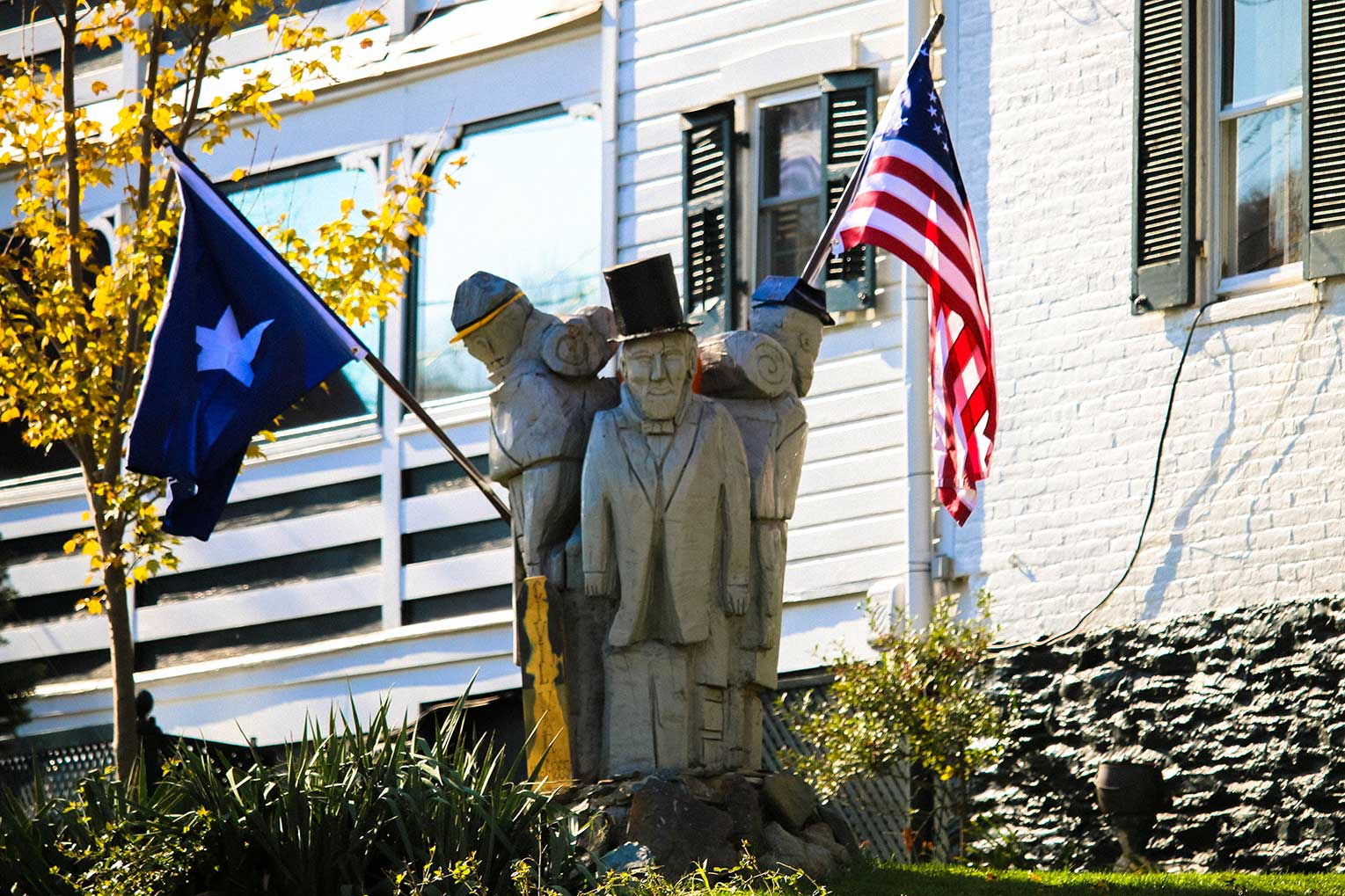 Statue with flags in Harper's Ferry, WV