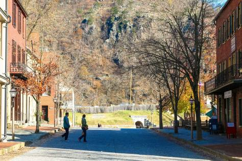 People walking in historic downtown in Harper's Ferry, WV